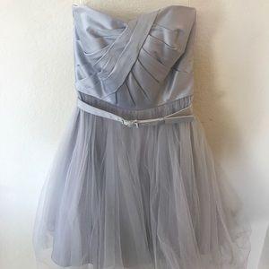 Silver chiffon dress with belt